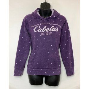 CABELA'S Purple Hooded Sweatshirt w Polka Dots